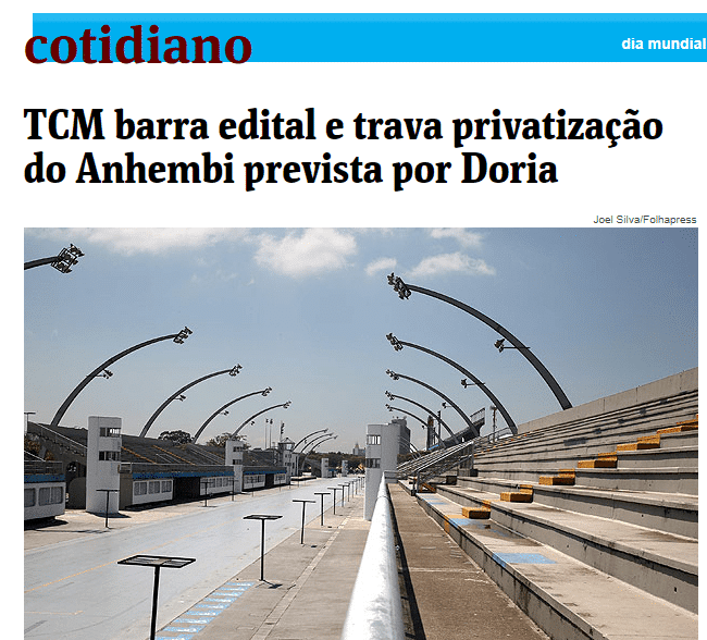 TCM barra edital e trava privatização do Anhembi prevista por Doria