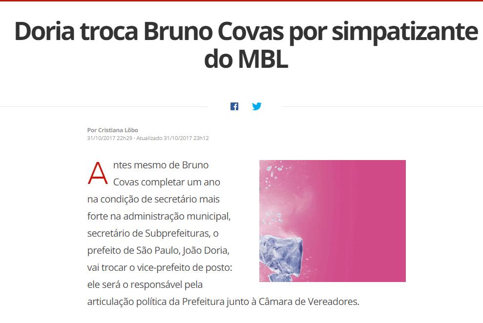 Doria troca Bruno Covas por simpatizante do MBL