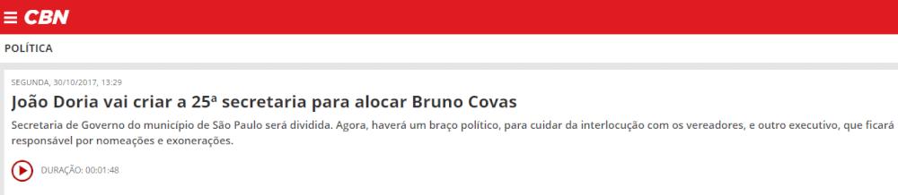 João Doria vai criar a 25ª secretaria para alocar Bruno Covas