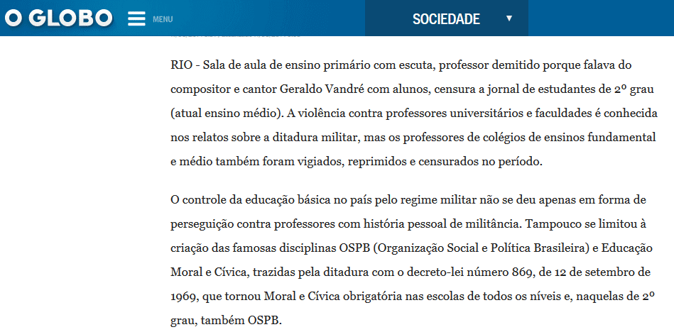 Ditadura e a Escola Sem Partido