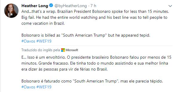 Jornalista chefe de Economia do Washington Post, Heather Long sobre o Discurso de Bolsonaro