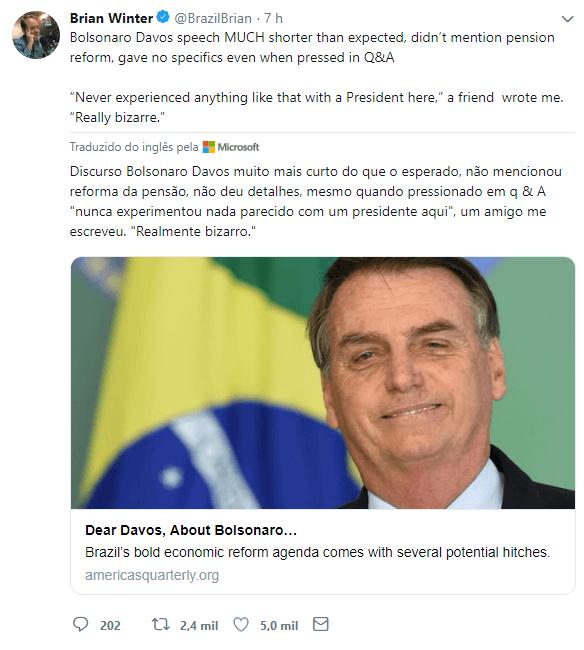 Editor-chefe da revista Americas Quarterly, Brian Winter ressalta a superficialidade do discurso de Bolsonaro