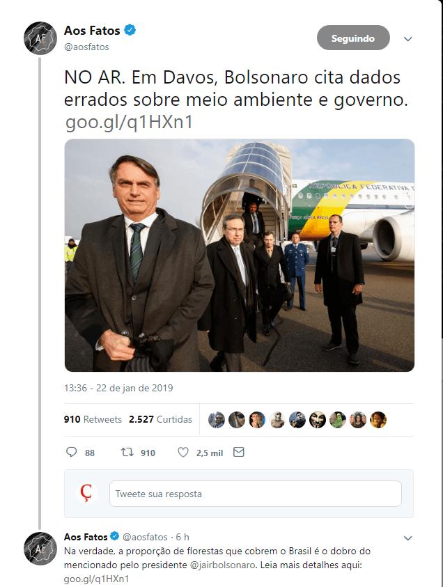 Aos Fatos desmente discurso de Bolsonaro em Davos