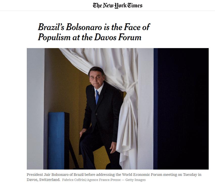 NY Times: Bolsonaro é a Face do Populismo no Fórum de Davos