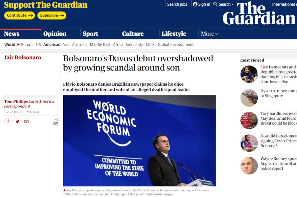 The Guardian: Estreia de Bolsonaro em Davos é ofuscada pelo escândalo ao redor de seu filho