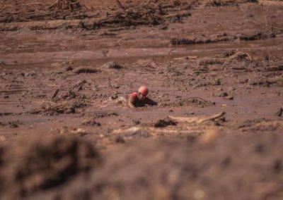 Bombeiro se locomove na lama em Brumadinho