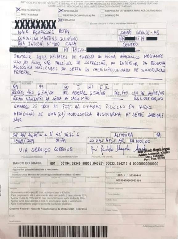 Multa dada pelo ICMBio a Nair Brizola